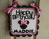 Minnie Mouse Birthday Party Door Sign in Hot Pink and Zebra