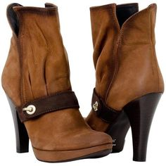 PAOLO IANTORNO Ava Burnt Brown Nappa Ankle Booties ($269) ❤ liked on Polyvore featuring shoes, boots, ankle booties, ankle boots, heels, brown, platform booties, brown ankle booties, high heel bootie and platform boots
