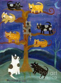 Treed folk art cat and dog print - AllisonMerriweatherArt Artist