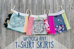 Sewing | Upcycle old tee shirts into knit t-shirt skirts with this step-by-step tutorial. These are so cute with leggings and boots in the winter and flip flops in the summer!