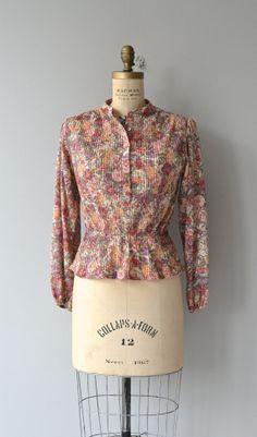 Miller's Grove blouse vintage floral 70s blouse by DearGolden