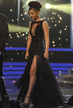 7f91d870922f1 Cheryl Cole perfect long black dress, open front, leg show stopper Stephane  Rolland,