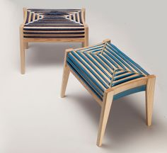Designer Dafi Reis Doron created 75% Control, stools with tactile, fabric-like look and feel.  material: polyurethane foam, a traditional cushion material, that is poured into the cracks of the stool's wooden form, which then naturally expands creating a cushiony seat.