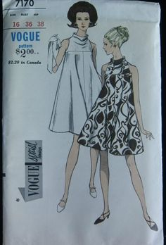 Vintage Tent Dress white brown graphic print swing halter mock turtleneck short sleeveless space age mod looks era Vogue Pattern 7170 size 12 by SewReallyCute Vintage Vogue Patterns, Vogue Sewing Patterns, Clothing Patterns, 1960s Fashion, Fashion Sewing, Vintage Fashion, Vestidos Vintage, Vintage Dresses, Vintage Outfits