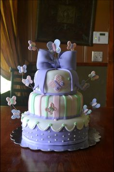 Purple Butterfly Baby Shower Cake