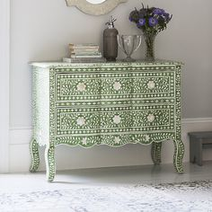 Estelle Bone Inlay Chest of Drawers in Emerald Green