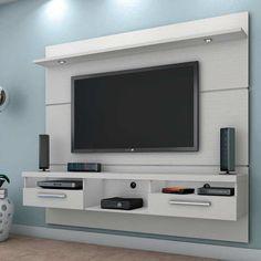 Painel para TV Toledo com Led Branco Tv Unit Interior Design, Tv Unit Furniture Design, Furniture Projects, Furniture Makeover, Room Interior, Furniture Decor, Modern Furniture, Tv Cabinet Design, Tv Wall Design