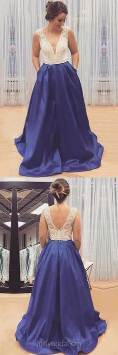 Graceful Prom Dresses, Prom Ball Gowns, V-neck Evening Dresses, Blue Party Dresses, Elastic Woven Satin Sweep Train Beading Formal Dresses
