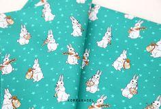 Rabbit fabric Rabbit pattern 44x35 100% Cotton 30s by KoreaBacol