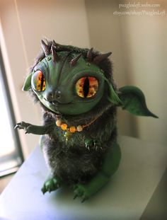 Green Emerald Dragon Half-Plush OOAK Art Toy by PuzglesLoft