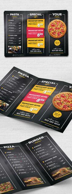 Pizza Restaurant Menu Flyer — Photoshop PSD #takeaway #spaghetti • Download ➝ https://graphicriver.net/item/pizza-restaurant-menu-flyer/19245262?ref=pxcr