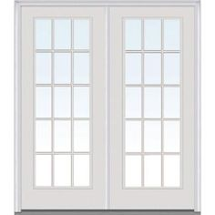 Milliken Millwork 72 in. x 80 in. Classic Clear Glass GBG Full Lite Painted Builder's Choice Steel Double Prehung Front Door-Z005001L - The Home Depot
