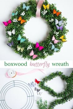 Freshen up your home with this DIY wreath by Design Improvised, complete with boxwood garland, baby's breath, and butterflies. So gorgeous, the neighbors think it's real! Wreath Crafts, Diy Wreath, Door Wreaths, Wreath Ideas, Summer Crafts, Holiday Crafts, Diy And Crafts, Summer Diy, Easter Wreaths