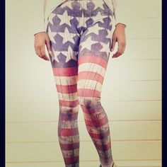 American flag leggings price reduced! These are brand new but didn't come with tags on them so no tags. Very soft Lycra and spandex. Medium fits size 6-8. Very stretchy. Pants Leggings