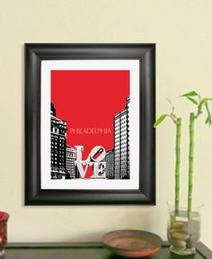 Philadelphia Skyline Poster - Love Park Art Print, 8x10 - Choose your color. $20.00, via Etsy.