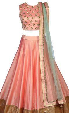 Peach silk lehenga choli, indian bridesmaids outfit,Indian wedding ghagara gold embroidered blouse, peach crop top and skirt, mehendi outfit - Blouse designs - Lehenga Skirt, Lehnga Dress, Lehenga Blouse, Silk Lehenga, Choli Designs, Lehenga Designs, Dress Designs, Blouse Designs, Indian Bridesmaids