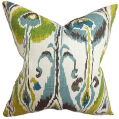 Cotton pillow with a multicolor ikat motif and down-feather fill. Made in the USA.   Product: PillowConstruction Ma...