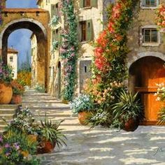 La Porta Rossa Sulla Salita Acrylic Print by Guido Borelli. All acrylic prints are professionally printed, packaged, and shipped within 3 - 4 business days and delivered ready-to-hang on your wall. Scenery Wallpaper, Dark Wallpaper, Thing 1, Canvas Art, Canvas Prints, Needlepoint Canvases, Colorful Paintings, Art Challenge, Vintage Travel Posters