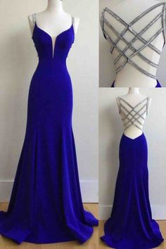 Sequins back royal blue chiffon prom dress, ball gown, prom dresses 2017