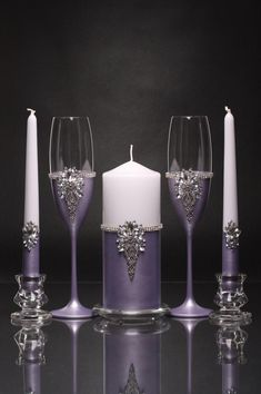 Lavender Personalized Wedding Set of Engraving Champagne Glasses Cake Server Knife Unity Candle Set Anniversary Gift Wedding Gift Decorated Liquor Bottles, Decorated Wine Glasses, Painted Wine Glasses, Wedding Wine Glasses, Wedding Champagne Flutes, Wine Glass Crafts, Bottle Crafts, Unity Candle, Candle Set