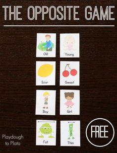 Teaching Kids Opposite Words: The Opposite Game - Playdough To Plato