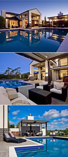 Building a new home? Find inspiration with this example of beautiful house and pool design.
