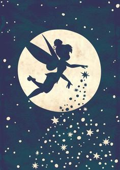 Disney Fairy, Tinkerbell, sprinkling her pixie dust as she flies past the moon and the stars Disney Magic, Disney Fairies, Disney Love, Tinkerbell Disney, Tinkerbell Drawing, Disney Stars, Tinkerbell Pumpkin, Tinkerbell Quotes, Peter Pan And Tinkerbell