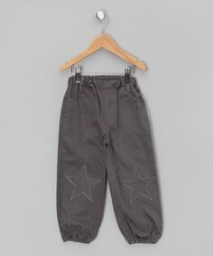 Grey Cuffed Joggers with Star Patches - Infant by silverjungle