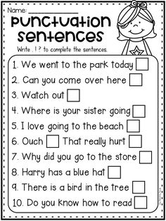 Cinco De Mayo Food Discover Punctuation worksheet with periods question marks and exclamation marks. This is perfect for kindergarten first grade and second grade students. Students write the punctuation mark which completes each sentence. Punctuation Activities, Teaching Punctuation, Teaching Writing, Teaching Spanish, First Grade Worksheets, School Worksheets, Kindergarten Worksheets, 1st Grade Activities, First Grade Curriculum