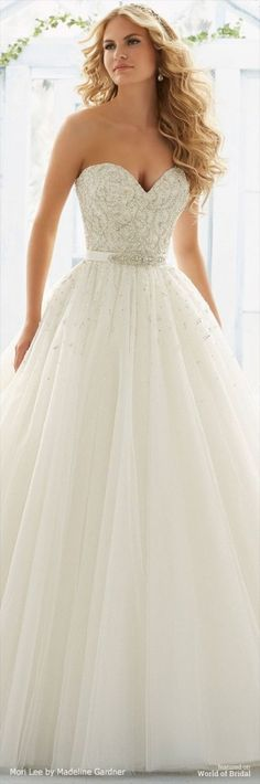 Mori Lee by Madeline Gardner Spring 2016 Wedding Dress.Pearl and Diamante Beading on Laser Cut Embroidery onto a Tulle Ball Gown