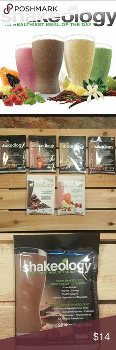 6 Shakeology packets combined in a gift bag Shakeology.  Complete source of protein, all 9 essential amino acids, may help with weight loss, reducing cravings. Unopened. Various exp. dates of 4-7/16.  Flavors are:  chocolate, vanilla, strawberry, vegan chocolate and vegan tropical strawberry.  Your package will arrive in a sweet gift bag with 6 packets. *PLEASE SPECIFY IN YOUR ORDER WHICH 6 FLAVORS YOU WANT* Price is FIRM and includes 6 packets in one gift bag. Shakeology Other