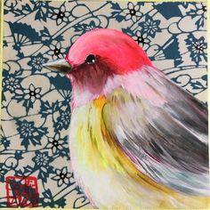 Sophie ADDE L'oiseau tendre 15x15cm 85euros en vente sur http://lafianceedupirate.fr/fr/155-sophie-adde