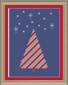 Candy cane Christmas tree cute crossstitch by nerdylittlestitcher, $3.00