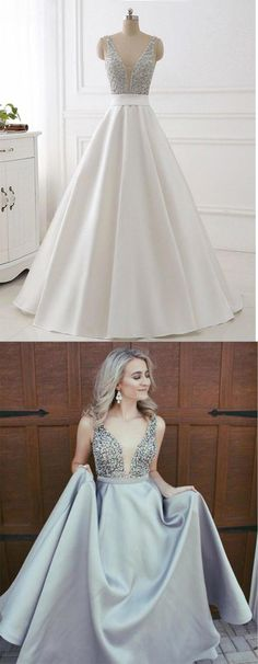 A-Line Evening Dress,V-Neck Prom Dresses,Satin Prom Dress with Beaded Bodice,Sleeveless Prom Dresses,Backless Prom Dress DS296 #aline #beading #long #gray #prom #okdresses