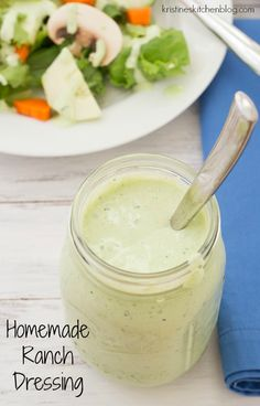 Homemade Ranch Dressing makes a great dip for fresh veggies and a delicious dressing for green salads. Made with Greek yogurt rather than mayo, you'll love the tangy, fresh herb flavor of this homemade ranch! Buttermilk Ranch Dressing, Homemade Ranch Dressing, Homemade Greek Yogurt, Homemade Buttermilk, Easy Healthy Recipes, Real Food Recipes, Cooking Recipes, What's Cooking, Delicious Recipes