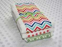 Cloth Diaper Burp Cloths Set of 3 Rainbow of Colors by mypoplin, $14.00