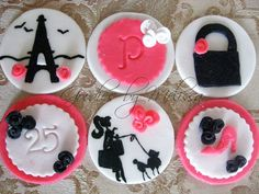 12 fondant hand painted paris themed cupcake by GoodiesByMelissa, $29.95