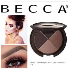 BECCA Ultimate Eye Colour Quad - Galactica Highly pigmented mineral powders build quickly & blend easily for lasting silky smooth finish. This quad of velvety smooth powder shadows are: Galactica matte ebony/ metallic peach/ metallic brown/ dark matte brown. BNIB. Never used or swatched. 100% Authentic. No Trades. ✨Note: All products are free from detectable defects by me unless otherwise stated in the description. All products are sold as is & without refunds or returns.✨ BECCA Makeup…