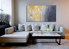 "Julie Ahmad's Original Abstract Art, 50 Shades of Gray & Yellow. #AustinAbstractArtist 36"" X 60"""