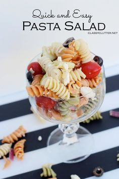Quick and Easy Pasta Salad - This is so easy and so yummy! A must try for any summer picnic or party.