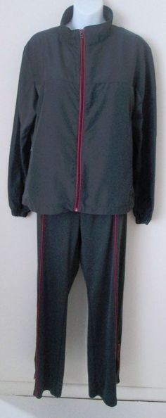 Vintage Jerzees Warm Up Suit Women's Size Large 14 16 2 Piece Gray Pink Set #Jerzees #TracksuitsSweats