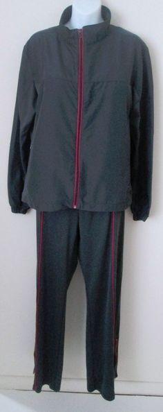Vintage Jerzees Warm Up Suit Women's Size Large 14 16 2 Piece Gray Pink Set #Jerzees #TracksuitsSweats