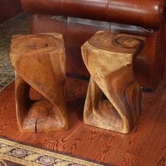 These wood twist stools are great for extra seating or as end tables.