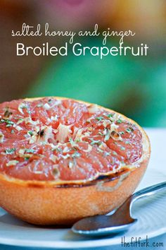 Salted Honey and Ginger Broiled Grapefruit -a healthy dessert option packed with vitamins, antioxidents and juicy citrus flavor - TheFitFork.com