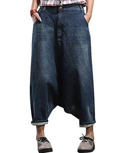 3f76e4a06caa Youlee Frauen Elastische Taille Wide Leg Haremshose Loch Jeans Style 3. Elastische  Taille. Taschen