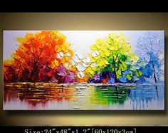 contemporary wall art,Palette Knife Painting,colorful Landscape painting,wall decor,Home Decor,Acrylic Textured Painting ON Canvas Chen 0401