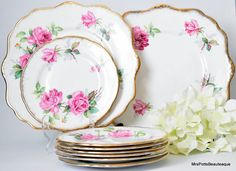 Set of Lovely Cake Plates and Serving Platters; Royal Stafford, Berkeley Roses, Floral FIesta Rich in Pink and Gold, c 1940 s