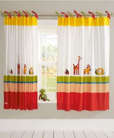 Hoppity Hoot - Tab Top Curtains x - Curtains & Tie Backs - Mamas & Papas Tie Top Curtains, Boys Curtains, Baby Room Curtains, Cute Curtains, Modern Curtains, Rainbow Curtains, Tropical Bedroom Decor, Rideaux Design, Home Office Decor