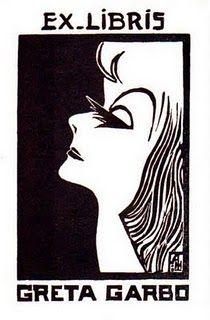 ≡ Bookplate Estate ≡ vintage ex libris labels︱artful book plates - Greta Garbo's Ex Libris Bookplate
