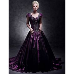 Taffeta A-line V-neck Court Train Evening Dress inspired by Taylor Swift – USD $ 249.99